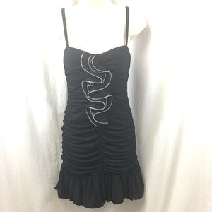 City Studio Sexy Black Ruffle Zipper Party Dress